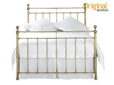 Original Bedstead Co Blyth 4 6 Double Genuine Brass Antique Finish Slatted Bedstead Metal Bed