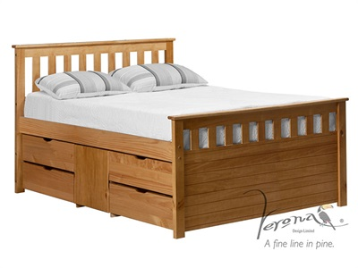 Verona Design Ltd Captains Ferrara Storage Bed 3 Single Antique Storage 1 Side (4 Drawer) Cabin Bed