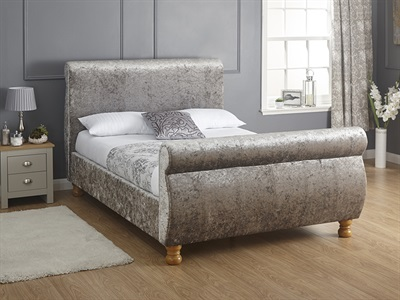 GFW Chicago Crushed Velvet 4 6 Double Fabric Bed