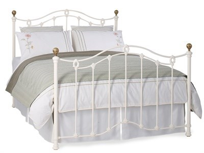 Original Bedstead Co Clarina in Ivory 4 6 Double Glossy Ivory & Antique Brass High Foot End Metal Bed
