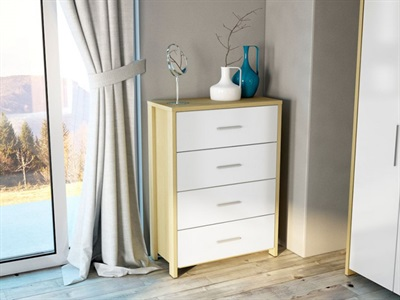 Birlea Cruz 4 Drawer Chest Oak and White 4 Drawer Chest Drawer Chest