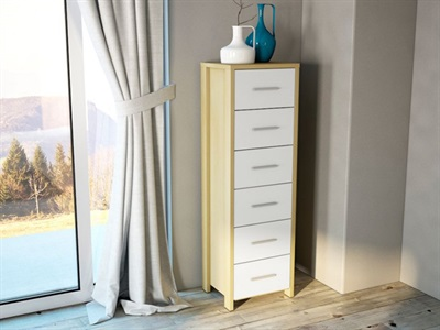 Birlea Cruz 6 Drawer Chest Oak and White 6 Drawer Chest Drawer Chest