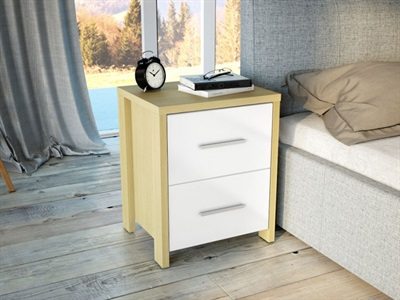 Birlea Cruz 2 Drawer Bedside Chest Oak and White 2 Drawer Bedside Chest
