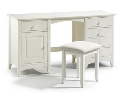 Julian Bowen Cameo Twin Pedestal Dressing Table Stone White Flat Packed Dressing Table