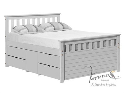 Verona Design Ltd Captains Ferrara Storage Bed Whitewash 3 Single Whitewash Storage 1 Side (4 Drawer) Cabin Bed