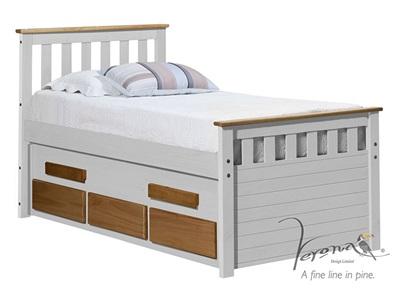 Verona Design Ltd Captains Bergamo Guest Bed Whitewash 3 Single Whitewash Guest Bed Stowaway Bed