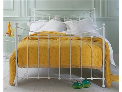 Original Bedstead Co Chatsworth 5 King Size Satin White Slatted Bedstead Metal Bed