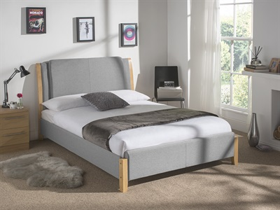 snuggle beds chelsea light grey 5 king size grey fabric fabric bed - King Size Bed Frame Cheap
