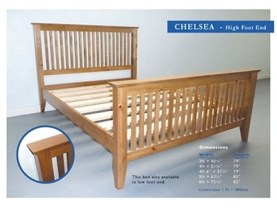 Windsor Chelsea 3 Single Antique Wax High Foot End Wooden Bed