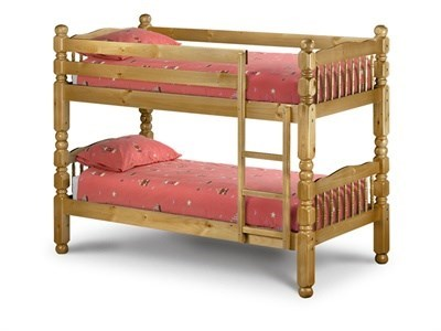 Julian Bowen Chunky Bunk 3 Single Natural Slatted Bedstead Bunk Bed