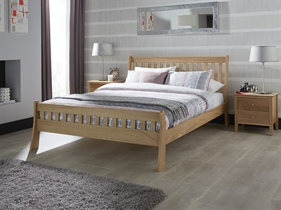 Serene Furnishings Colchester 6 Super King Honey Oak Wooden Bed