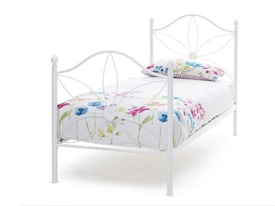 Serene Furnishings Daisy 3 Single White Metal Bed
