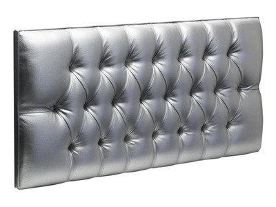 New Design Diana Leather 5 King Size Silver Metallic Faux Leather Leather Headboard