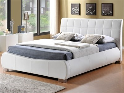 Limelight Dorado White 4 6 Double White Leather Bed