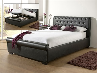 Snuggle Beds Eleanor - Black 4 6 Double Black Ottoman Bed