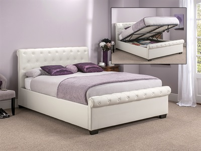 Snuggle Beds Eleanor - Ivory White 4 6 Double Ivory Eleanor Ottoman Bed
