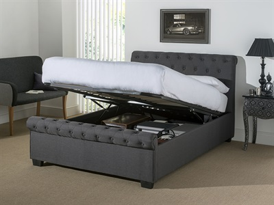 Snuggle Beds Eleanor - Dark Grey Fabric 4' Small Double Dark Grey Fabric Ottoman Bed