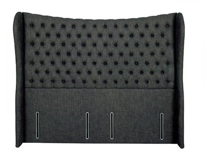 Hypnos Elizabeth - Winged Euro Wide 4 6 Double Imperio Biscuit Headboard Only Fabric Headboard