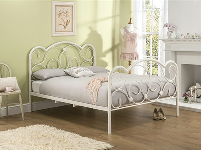 Snuggle Beds Elizabeth 4 6 Double Cream Metal Bed