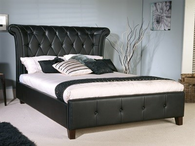 Limelight Epsilon Leather 4 6 Double Black Leather Bed