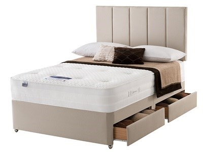Silentnight Geltex Affinity 1000 Divan Set 4 6 Double Sandstone Platform Top - No Drawers Divan