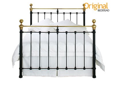 Original Bedstead Co Hamilton 4 Small Double Glossy Ivory & Antique Brass Headboard Only Metal Headboard