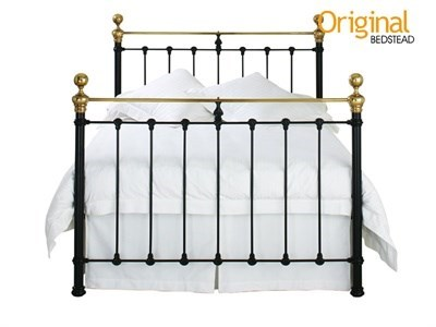 Original Bedstead Co Hamilton in Black 4 Small Double Satin Black & Antique Brass Slatted Bedstead Metal Bed