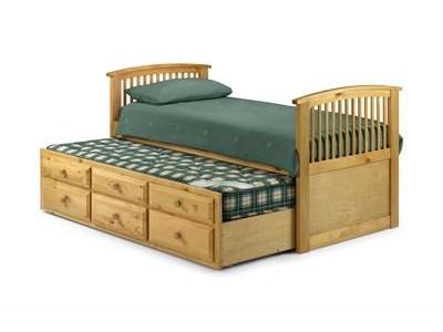 Julian Bowen Hornblower Pine 3 Single Natural Stowaway Bed