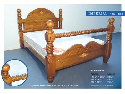 Windsor Imperial 4 6 Double Antique Wax Rail End Wooden Bed