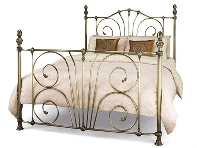 Serene Furnishings Jessica 4 Small Double Satin Nickel Metal Bed