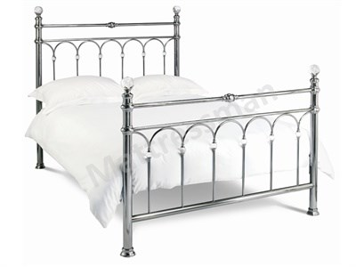 Bentley Designs Krystal Nickel 4 6 Double Nickel Slatted Bedstead Metal Bed