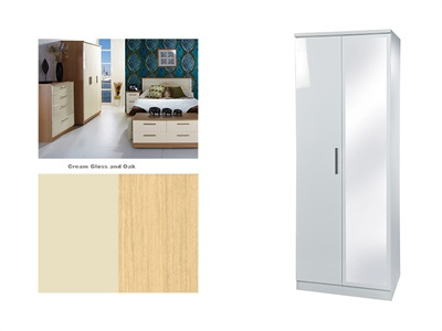 Furniture Express Knightsbridge Tall 2ft6in Mirror Robe Cream Gloss and Oak 2 Door With Mirror Wardrobe