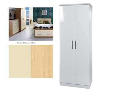 Furniture Express Knightsbridge Tall Double Hanging Robe Cream Gloss and Oak 2 Door Wardrobe