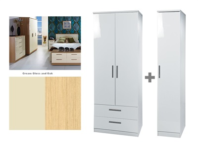 Furniture Express Knightsbridge Tall Triple 2 Drawer Robe Cream Gloss and Oak 3 Door Wardrobe