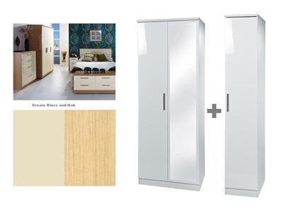 Furniture Express Knightsbridge Tall Triple Mirror Robe Cream Gloss and Oak 3 Door With Mirror Wardrobe