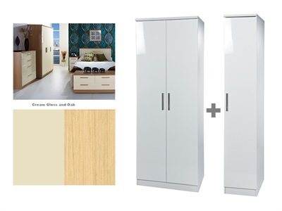 Furniture Express Knightsbridge Tall Triple Plain Robe Cream Gloss and Oak 3 Door Wardrobe