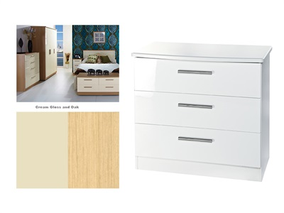 Furniture Express Knightsbridge 3 Drawer Chest Cream Gloss and Oak Assembled Drawer Chest