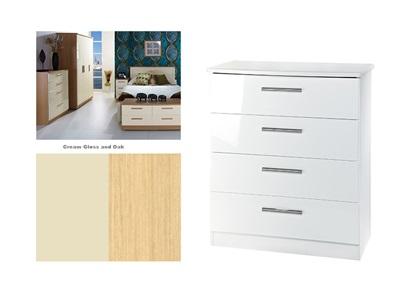 Furniture Express Knightsbridge 4 Drawer Chest Cream Gloss and Oak 4 Drawer Chest Drawer Chest