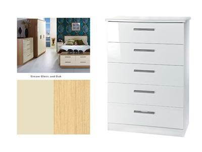 Furniture Express Knightsbridge 5 Drawer Chest Cream Gloss and Oak 5 Drawer Chest Drawer Chest