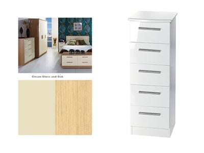 Furniture Express Knightsbridge 5 Drawer Locker Cream Gloss and Oak 5 Drawer Chest Drawer Chest