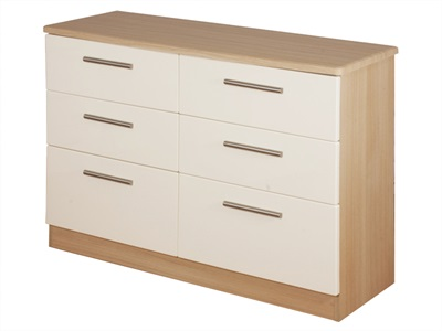 Furniture Express Knightsbridge 6 Drawer Midi Chest Cream Gloss and Oak 6 Drawer Chest Drawer Chest
