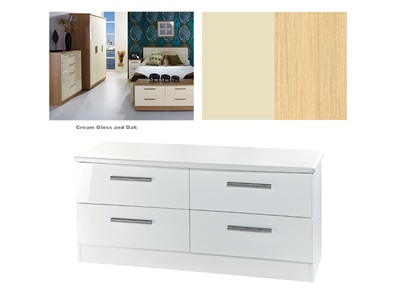Furniture Express Knightsbridge 4 Drawer Bed Box Cream Gloss and Oak 4 Drawer Drawer Chest