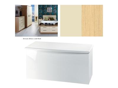 Furniture Express Knightsbridge Blanket Box Cream Gloss and Oak Assembled Blanket Box