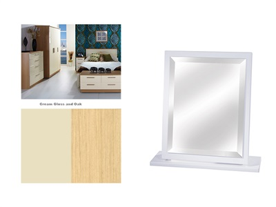 Furniture Express Knightsbridge Small Mirror Cream Gloss and Oak Assembled Mirror