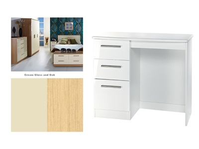 Furniture Express Knightsbridge Vanity Cream Gloss and Oak Table Only Dressing Table