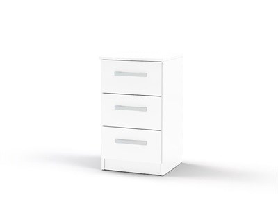 Birlea Lynx 3 Drawer Bedside White Flat Packed Bedside Chest
