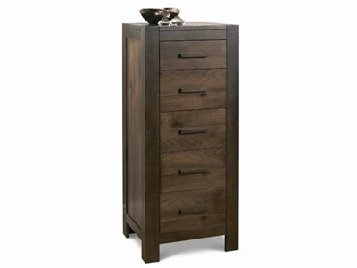 Bentley Designs Lyon Walnut 5 Drawer Tall Chest Walnut Drawer Chest