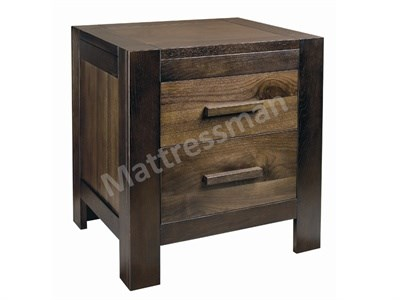 Bentley Designs Lyon Walnut 2 Drawer Nightstand Walnut Bedside Chest
