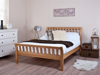 Silentnight Lancaster 4 6 Double Oak Slatted Bedstead Wooden Bed