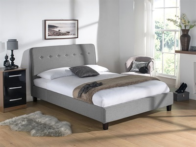 Snuggle Beds Luca Light Grey 5 King Size Silver Bed Frame Only Fabric Bed